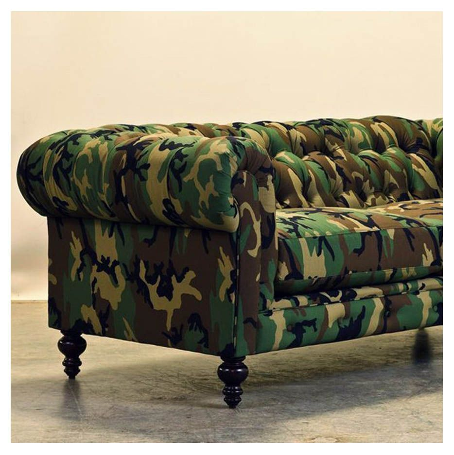 Hmm wonder what the Duncan bros will say if they come home to this ;  camouflage chesterfield couch, CoCoCo home - Camouflage Chesterfield Couch By Cococo Home / Check Http://www