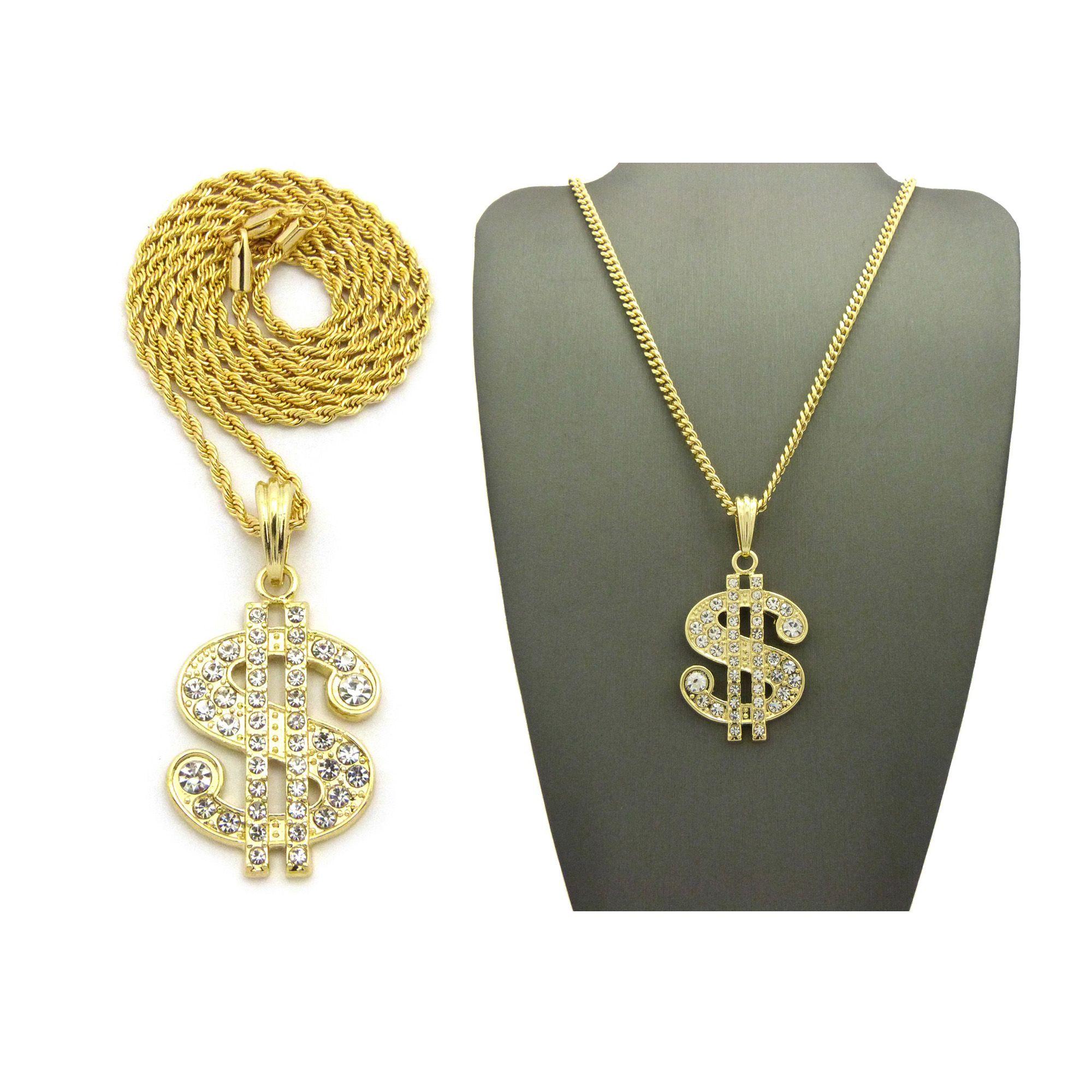 Iced out dollar sign pendant 24 boxcubanrope chain hip hop dollar sign pendant 24 chain hip hop necklaces aloadofball Images