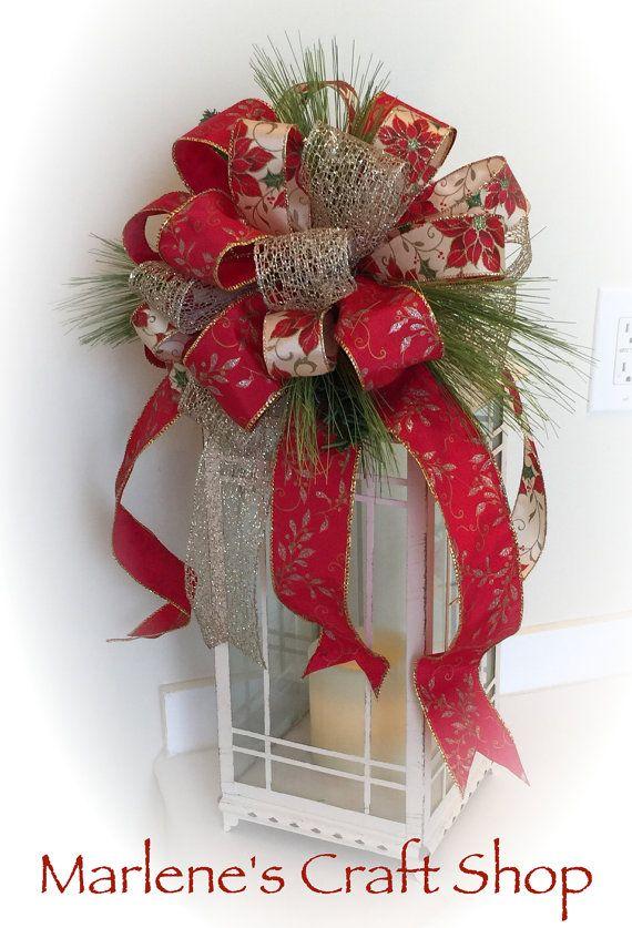 Gold Birthday Gift Bow Polka Dot Gold Bow Holiday Christmas Wreath Lantern Bow