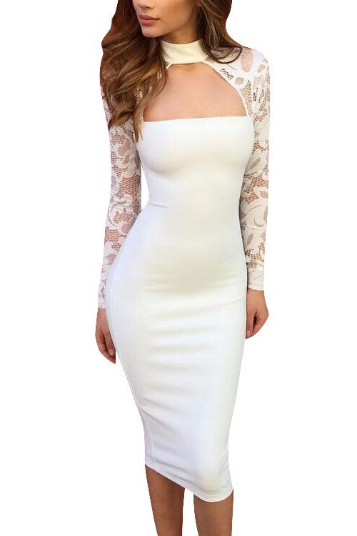2bf8b41c46a White Lace Long Sleeves High Neck Bodycon Dress - US 19.95 -YOINS