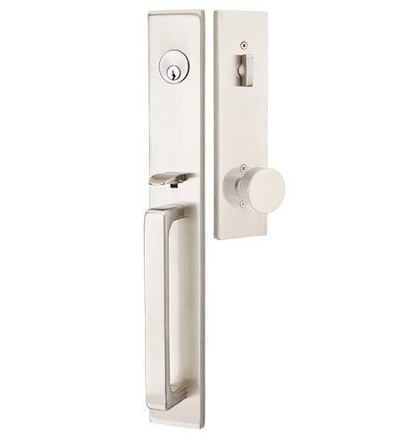 Front Entry Lock Set with Door Lever Handle Knob Lockset Satin Nickel Oil Bronze