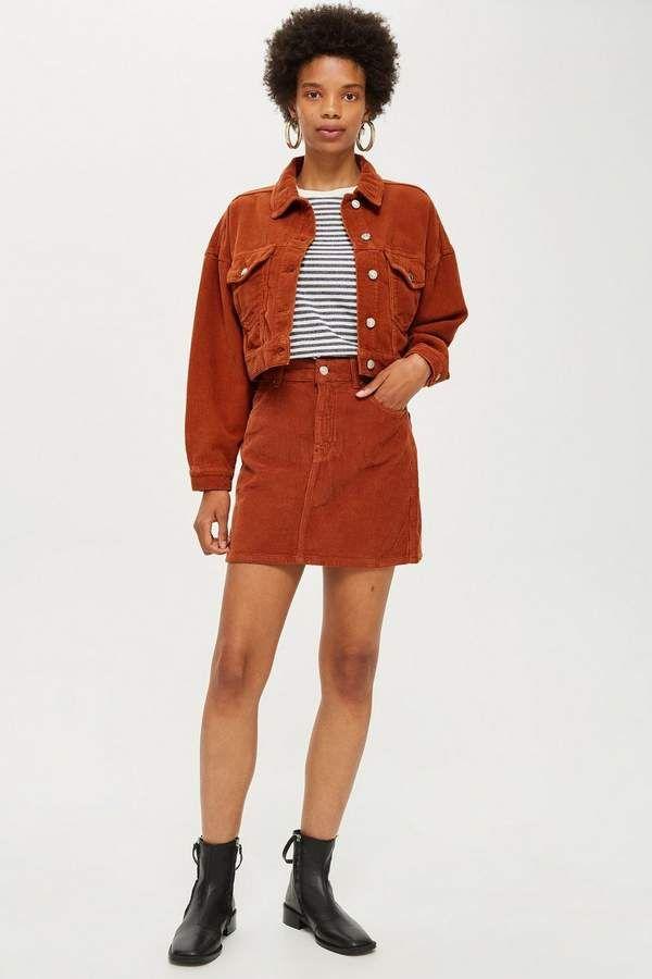 5b9e6035d978 Topshop Rust Corduroy Skirt