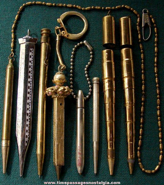 (8) Unusual Old Metal Mechanical Pencils & Ink Pens