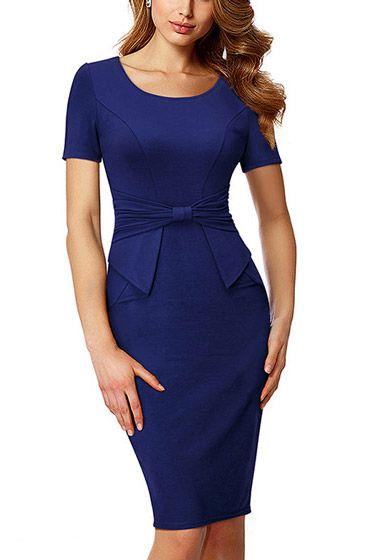 f1d2b28ee Compre Vestido Tubinho Social Detalhe de Laco na Cintura Moda Evangélico -  2 cores