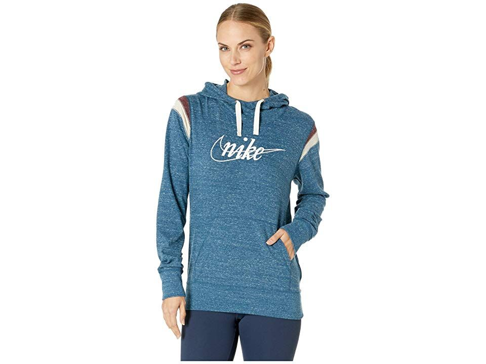 Nike Gym Vintage Hoodie Pullover HBR (Blue Force/Sail) Women's Sweatshirt. Keep cozy in a sporty style with the Nike Gym Vintage Hoodie Pullover HBR. Athletic fit is eased  but not sloppy  and perfect for any activity. Brushed fleece provides dependable warmth. Fixed  multi-panel hood. Pullover design. Long-sleeve coverage. Brand mark and slogan screened at chest. Kangaroo hand warmer pocket. Ribbed cuffs and straight hem. 60% #Nike #Apparel #Top #Sweatshirt #Blue