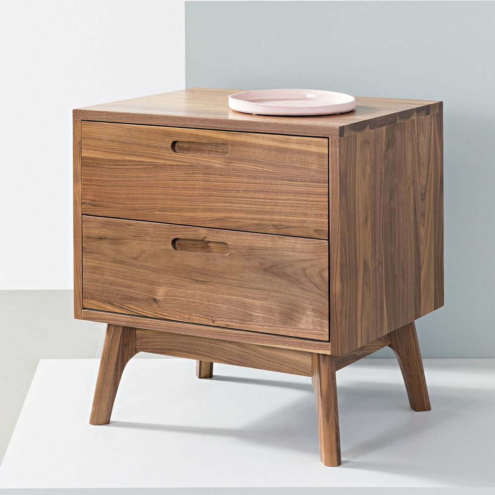 Maximus 2 Drawer Solid Walnut Bedside Table Icon By Design In 2020 With Images Walnut Bedside Table Bedside Table