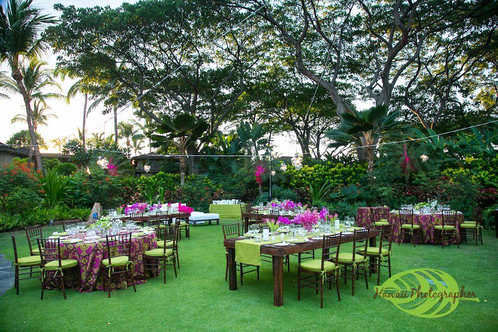 Amazing Beautiful Dinner Set Up Garden Lawn Four Seasons Resort Hualalai