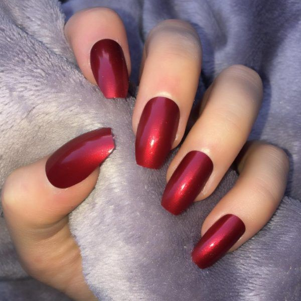 Metallic Red Squaletto Deep Red Nails Red Chrome Nails Red Sparkle Nails