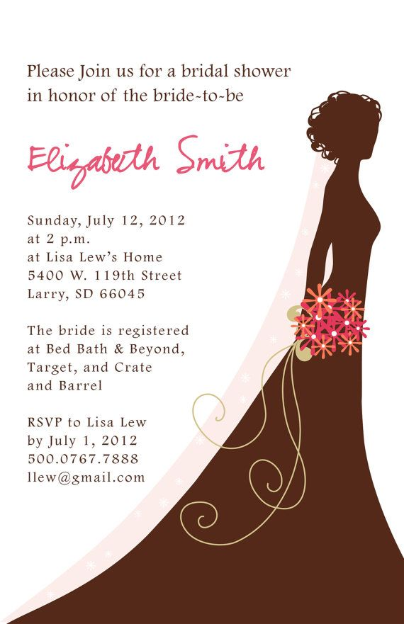 Bridal Shower Invitation Bride With Flowers Pink Brown Black