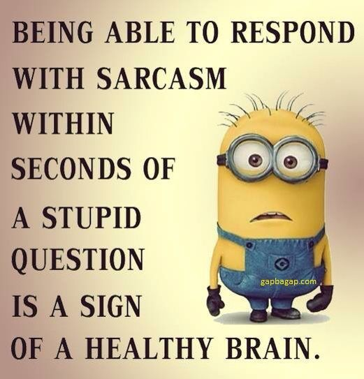 Funny Minion Quotes About Sarcasm vs Healthy Brain Funny