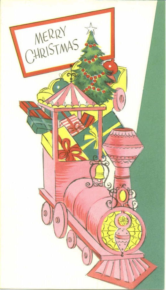 Vintage Christmas Card Pink Christmas Train by TheVintageGreeting ...