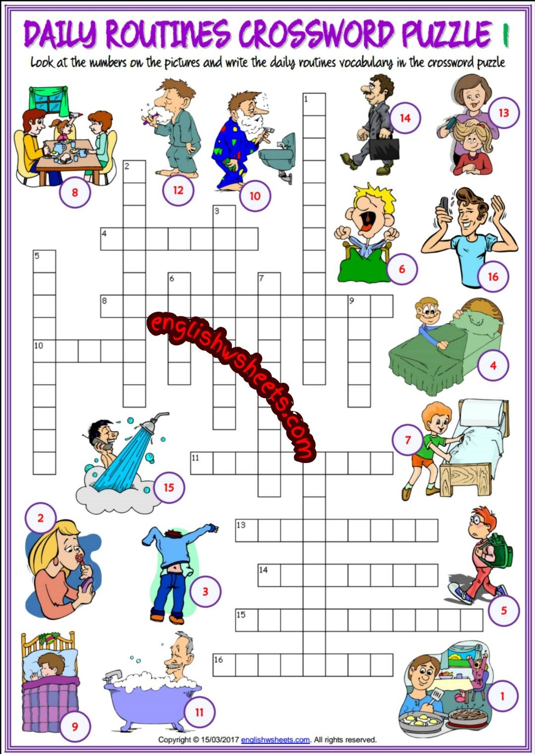 Daily Routines Esl Printable Crossword Puzzle Worksheets For Kids