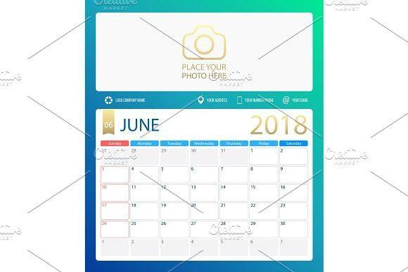 JUNE 2018, illustration vector calendar or desk planner, weeks start
