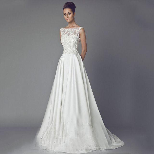 408723d6dae7 Vintage Braut Kleid A Line Ivory Satin Brautkleider Lange Spitze ...