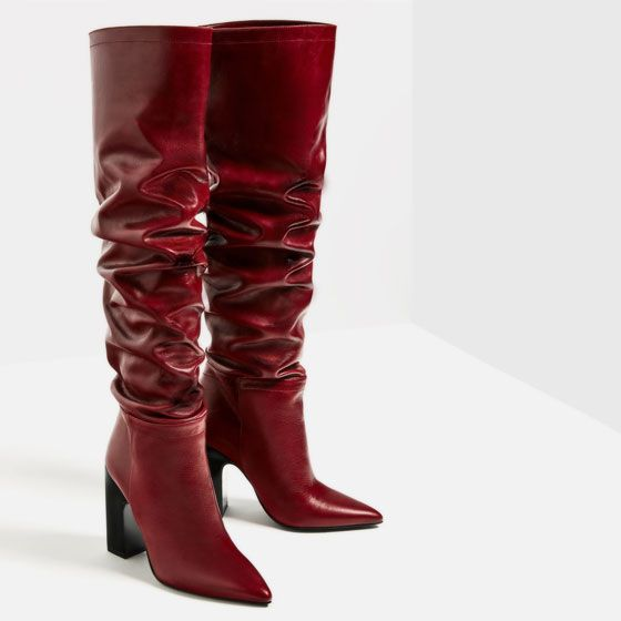 210ea66f0cd Image 6 of LEATHER HIGH HEEL BOOTS WITH WIDE LEG from Zara