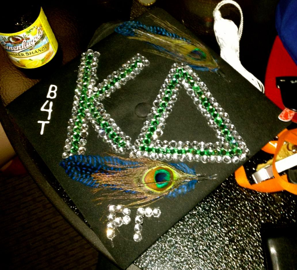 My Graduation Cap. <3 Kappa Delta, Rho Gamma, Bike for Tikes, Sparkle, Be unique, Remember who you are.