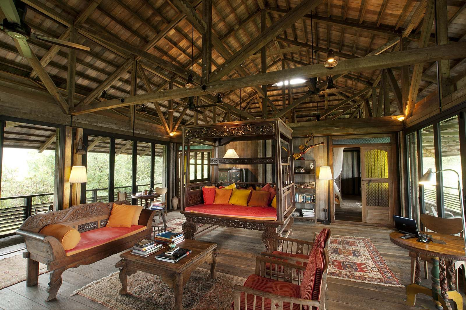 The Charming Timber Interior Of The Telegraph Pole House Langkawi
