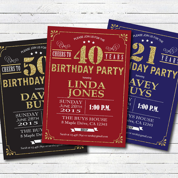 80th Birthday Invitation Red And Gold Cheers To 80 Years Glam For Man W