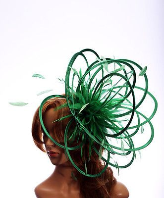Emerald Green Large Fascinator hat//choose any colour satin//highlight feathers