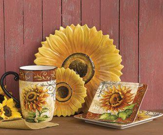 Tuscan Sunflower Dinnerware & sunflower kitchen decor   Sunflower Kitchen Decor spoon rest soap ...