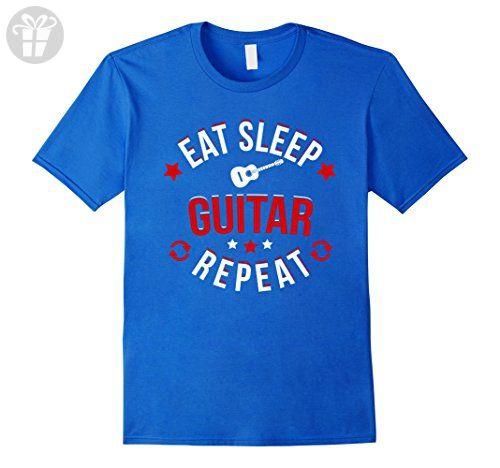 Men's Eat Sleep Guitar Repeat T Shirt Guitar Player School Band 2XL Royal  Blue - Eat