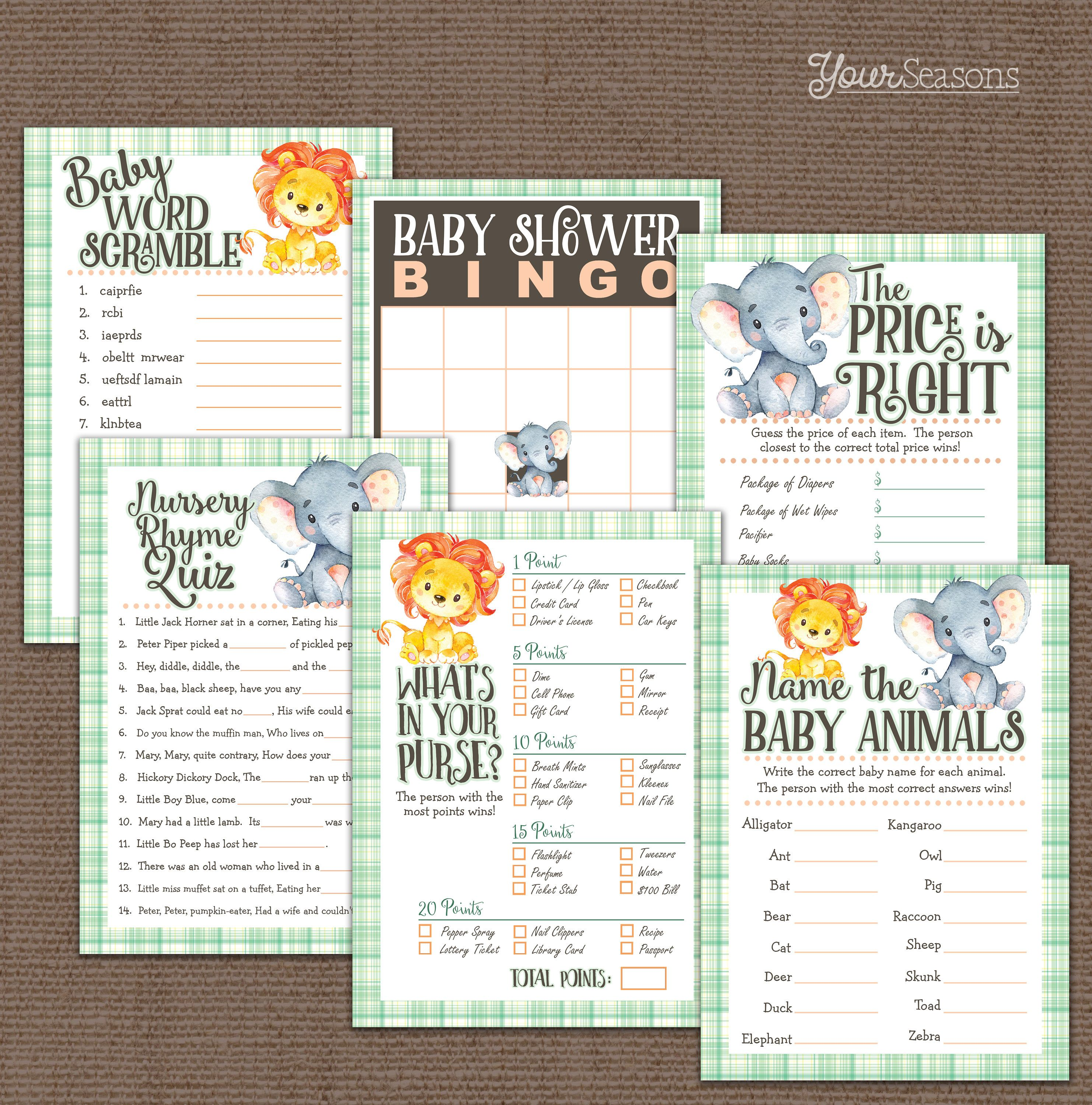 Jungle Baby Shower Games Pack Elephant Amp Lion Printable