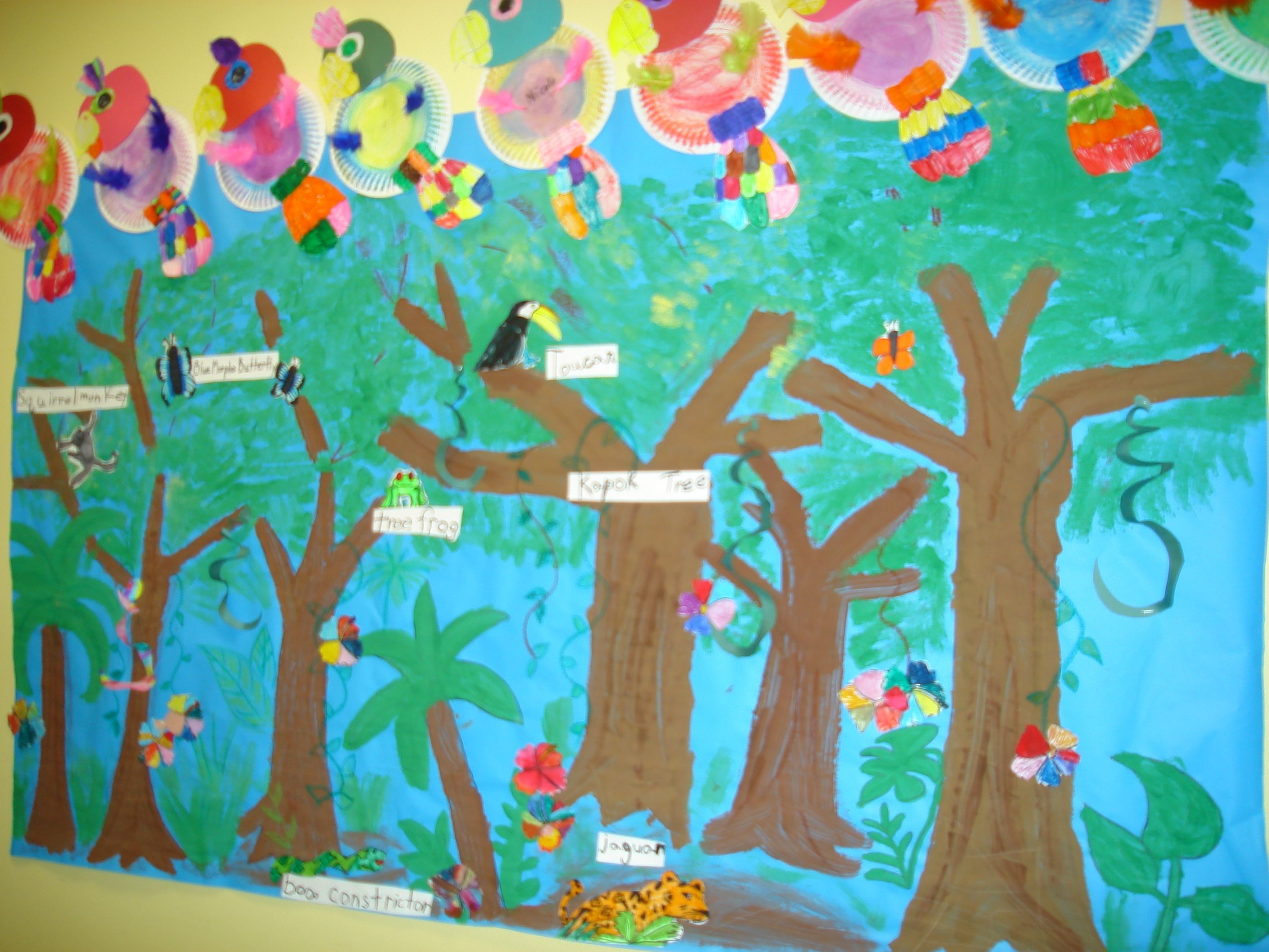 Rainforest mural with labels kids could create animals for Arts and crafts mural