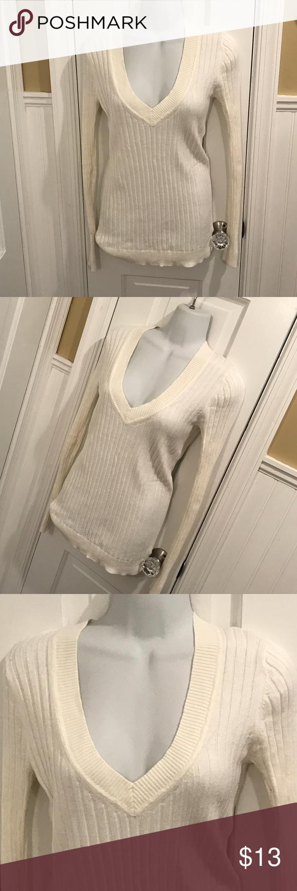 "Express vneck sweater Light cream vneck ribbed sweater. About 26"" long. Express Sweaters V-Necks"