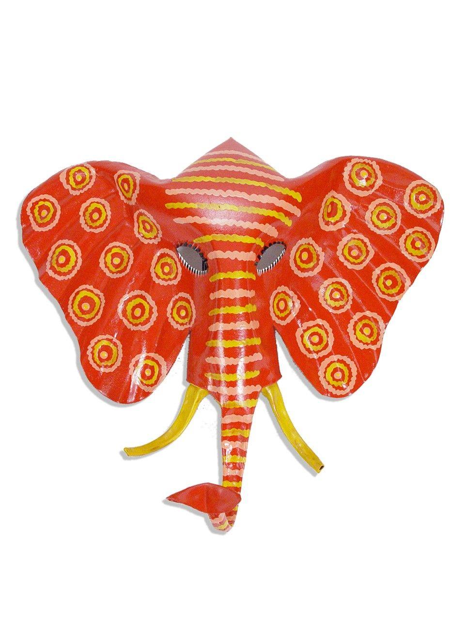 Elephant Masks Hand Painted Colorful Hanging Tin