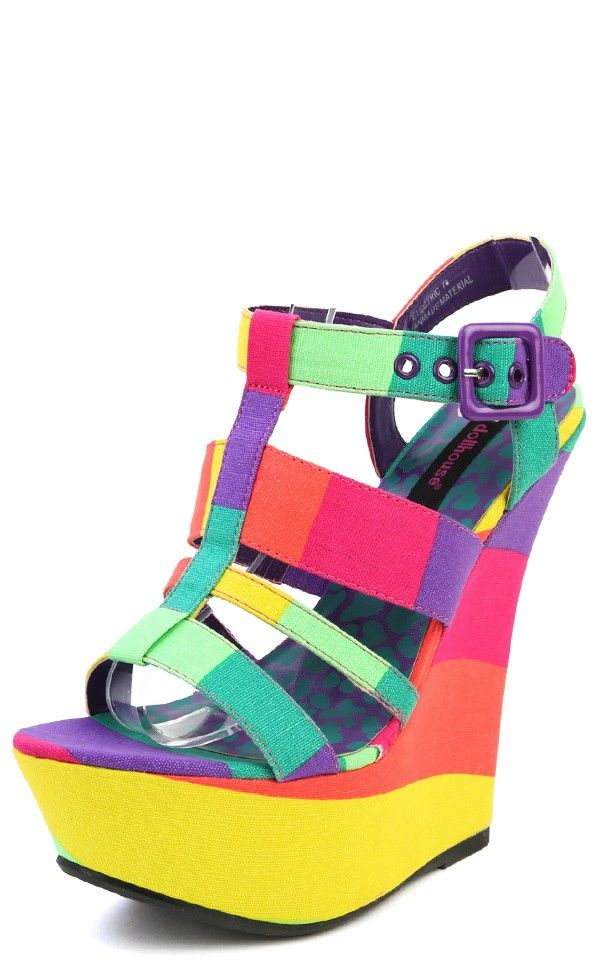 00521345a8 Dollhouse Electric Neon Colorblock Strappy Wedges PURPLE MULTI Dollhouse  Shoes