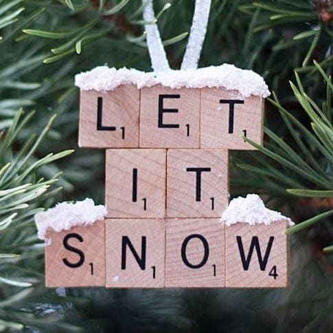 Let It Snow Scrabble Tile Ornament -   19 christmas decor diy how to make ideas