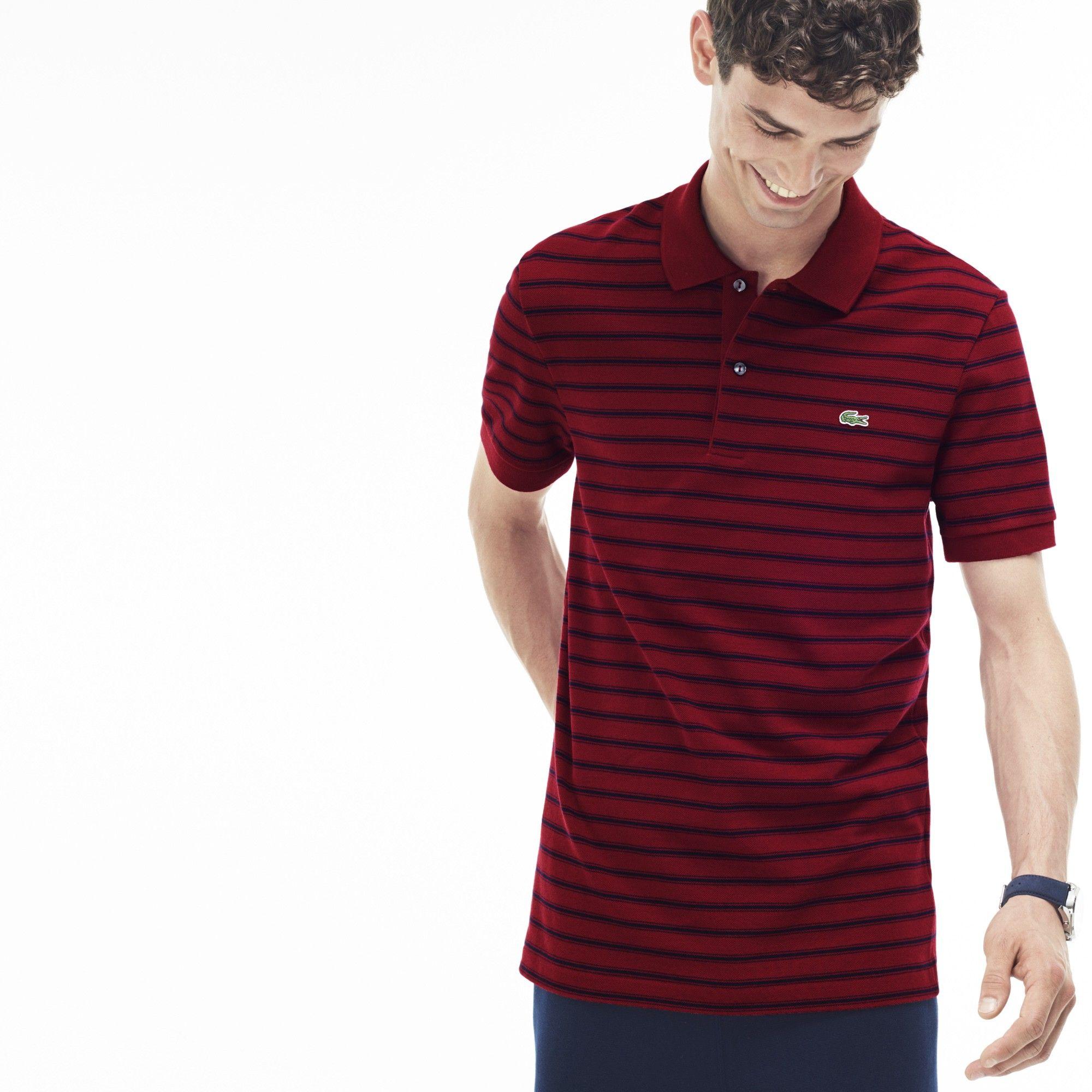 3ef715b09687f LACOSTE Men s Regular Fit Striped Cotton Petit Piqué Polo - turkey red blue  pigment c.  lacoste  cloth