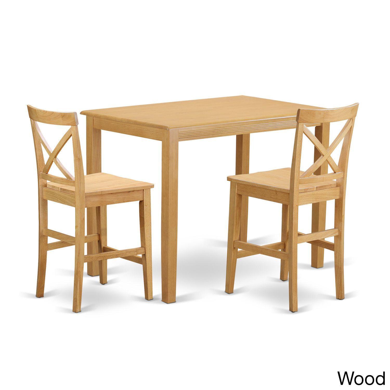 YAPB3-OAK Oak-finished Rubberwood 3-piece Counter Height Pub Dining Set (Wood Seat), Natural