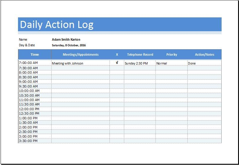 Daily Action Log Sheet DOWNLOAD at    wwwbizworksheets - log template