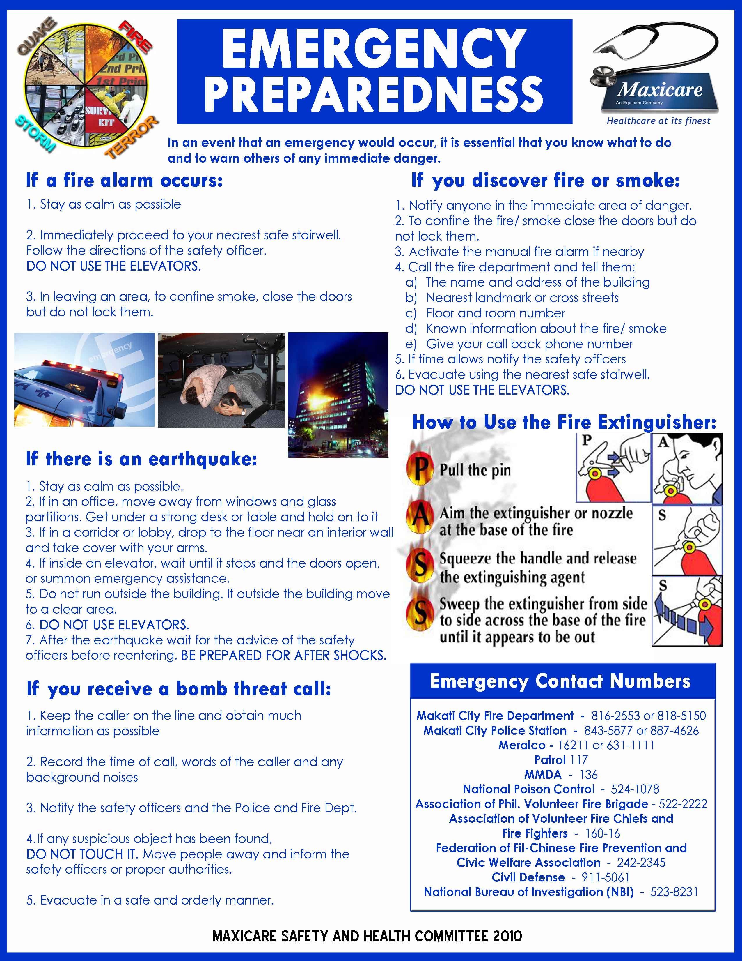 In Case Of Emergency Worksheet