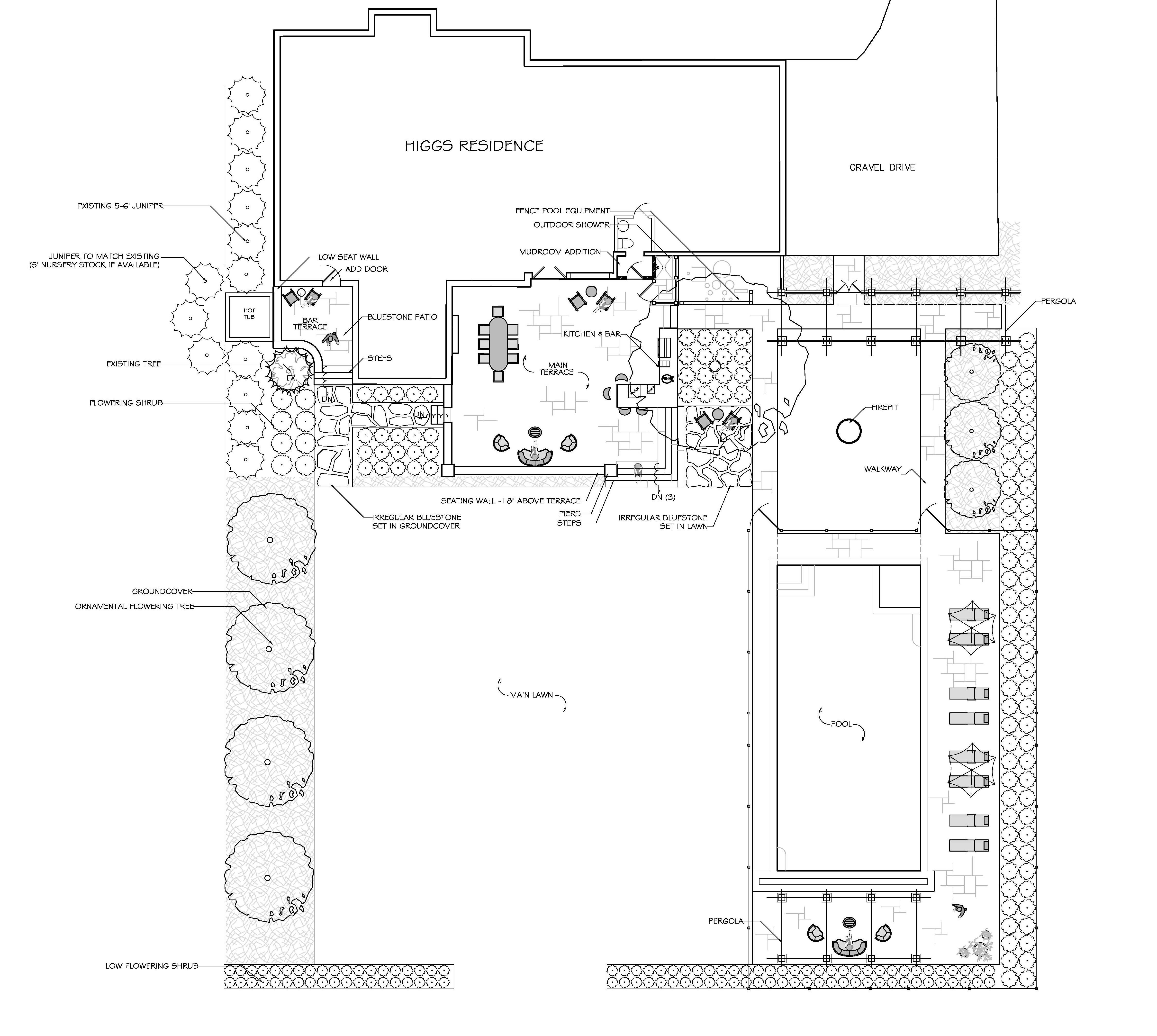 Landscape Plans For A Formal Garden With Swimming Pool Outdoor Kitchen Pergola Terraces Walls An Landscape Plans Garden Planning Front Yard Landscaping Diy