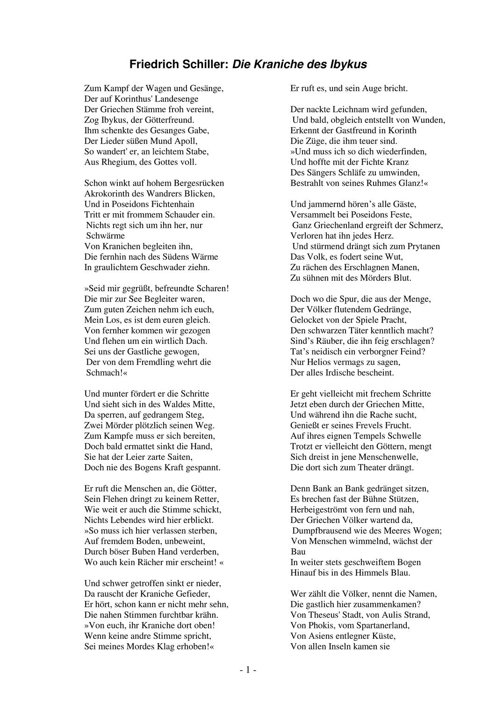 Schiller Die Kraniche Des Ibykus Text Und Arbeitsblatt Unterrichtsmaterial Im Fach Deutsch Arbeitsblätter Inhaltsangabe Unterrichtsmaterial
