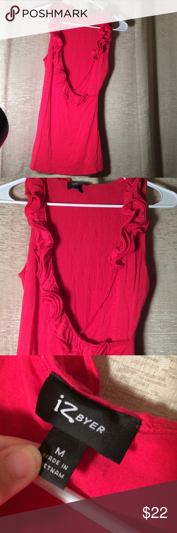 Gorgeous Deep ROSE RED Plunge Top Perfect condition- makes great for top layer Iz Byer Tops Blouses