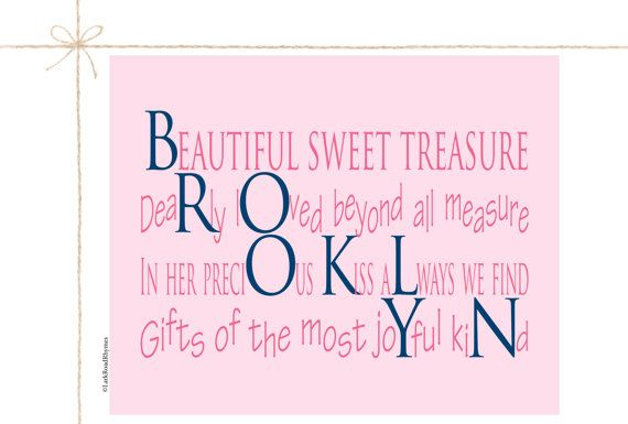 Baby girl room name gifts personalized 1st birthday gifts digital baby shower poem 8x10 print birthday gifts brooklyn baby girl namesbaby negle