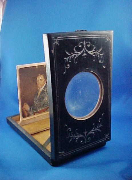 Antique Victorian Wood Box Monoscope Magnifying Viewer For
