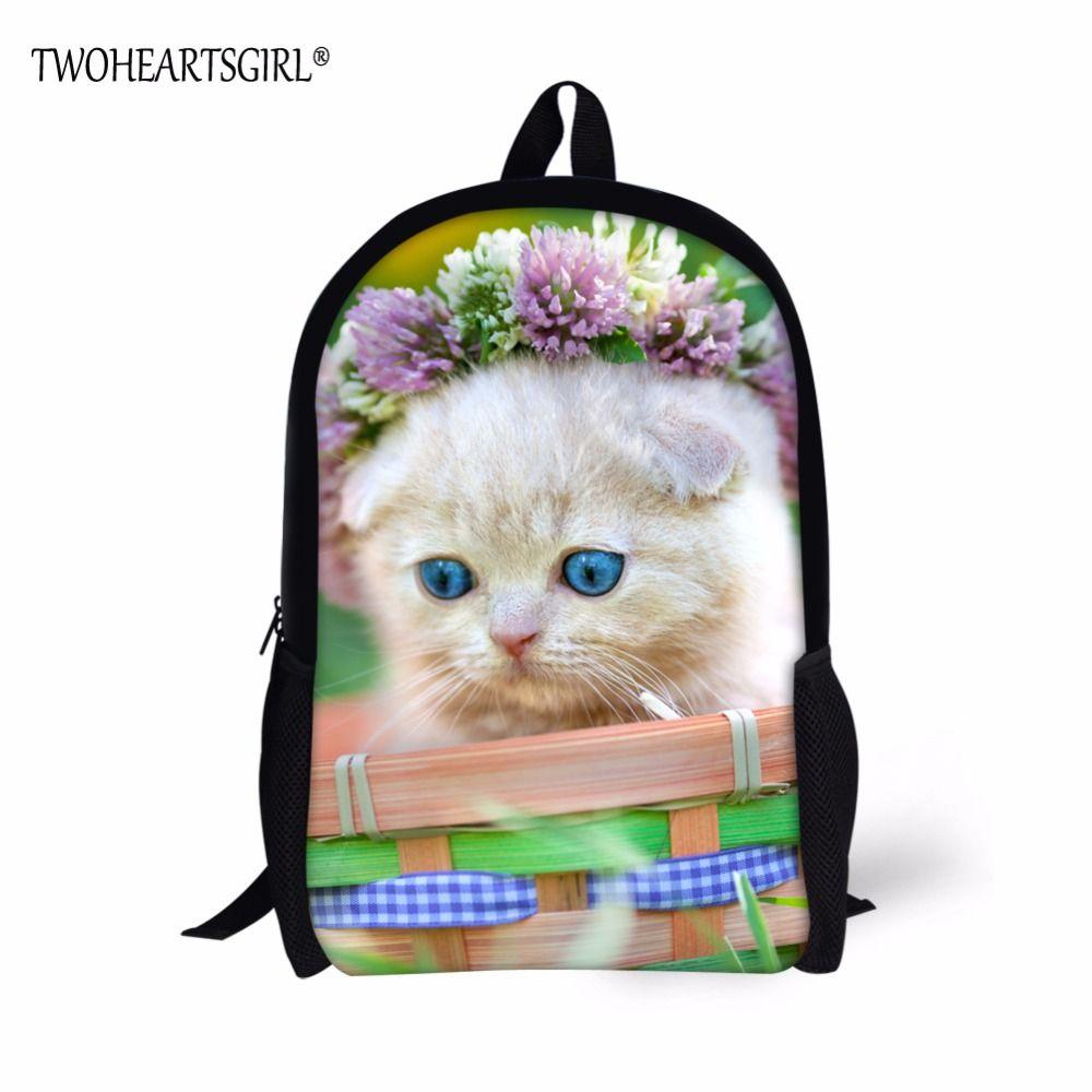 0c2ddaaa45 TWOHEARTSGIRL Naughty Cat and Monkey Pattern School bag Teen Girls High  Capacity 16Inch Schoolbag Kids Comfortable