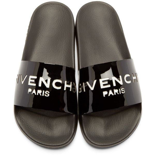 bf26f312b237 Givenchy Black Patent Cut-Out Slide Sandals (440 CAD) ❤ liked on Polyvore  featuring shoes