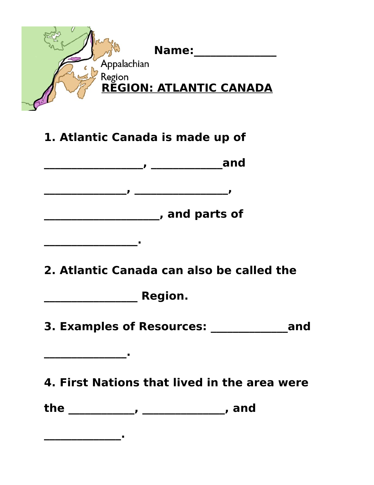 Regions Of Canada The Atlantic Worksheet Pt 2 Resource