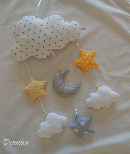 Mobile - Mobile in gelb-grau ♥Wolken♥Mond♥  - ein Designerstück von Detalles bei DaWanda    How should I decorate the nursery?  One of the things that needs to be done is to prepare a room for this tiny individual to be comfortable in. Preparing a baby room is quite a fun job! Shopping plans begin to bring together both cute and comfortable items for your baby and eventually create a stylish and functional nursery.    The bab... #Designerstück #Detal #Ein #gelbgrau #mobile #von #WolkenMond