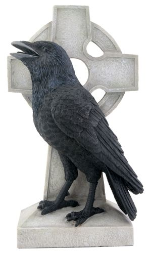 Raven on Celtic Cross Statue - 8148 Halloween Pinterest - halloween statues