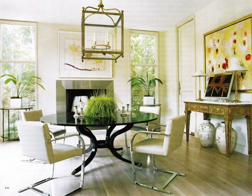 Beautiful dining room with modern chairs and large lantern for Beautiful modern dining rooms