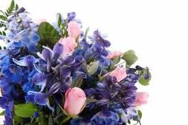 blue and pink bouquets