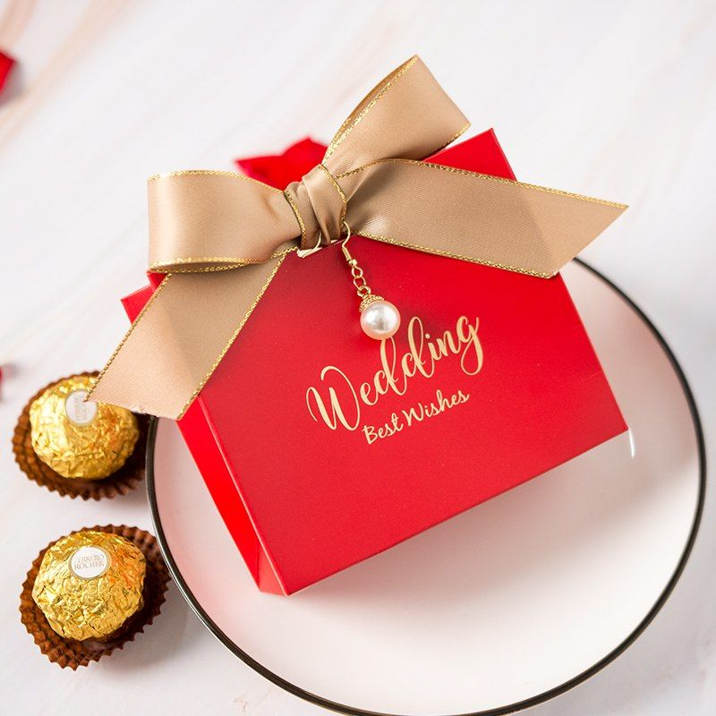 Wedding Favors Wholesale.50pcs Lot Red Theme Wedding Favor Container Engagement Chocolate Box