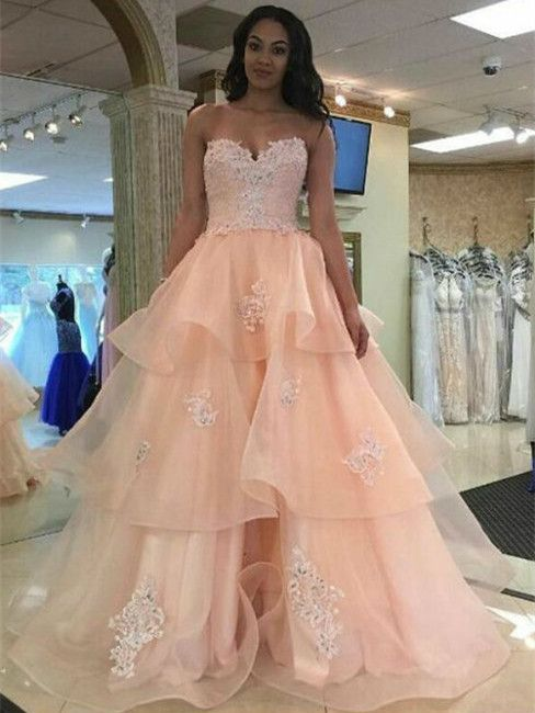 45abe70c740 A-line Princess Sweetheart Neck Strapless Floor Length Prom dresses. scoopneck   sleeveless  party  dresses  Dress  appliques  tulleskirt  princess  autumn  ...