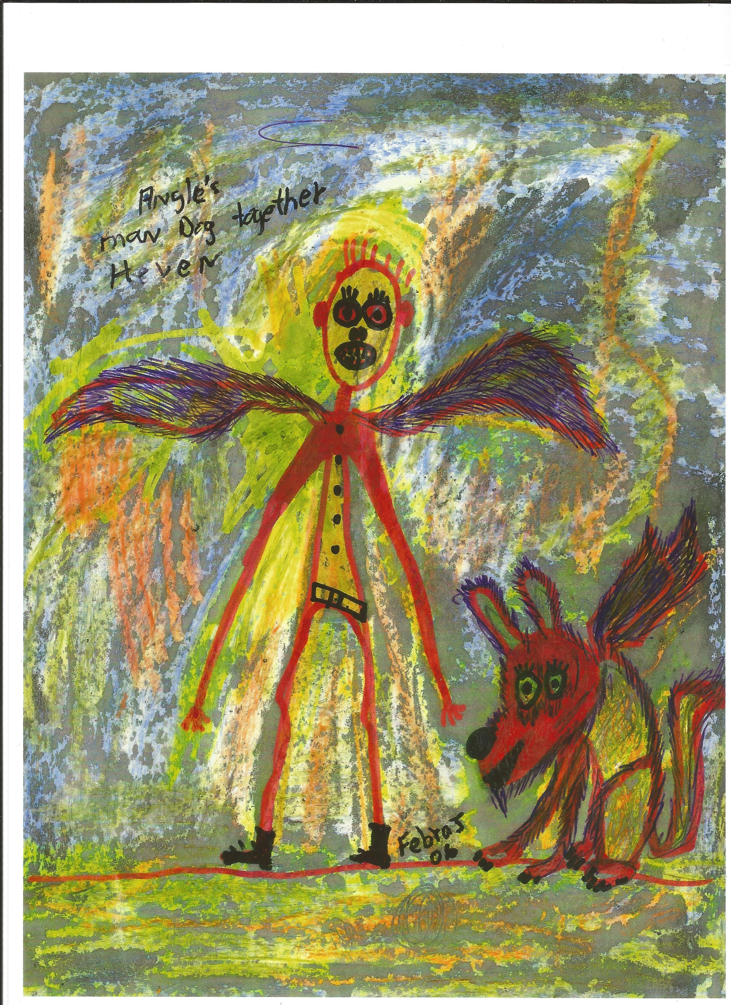 angel man and angel dog pepper Abstract Original Art artist febraj  dale johnson